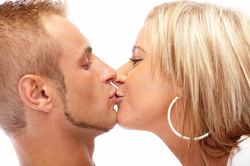 Happy kissing couple royalty free stock image