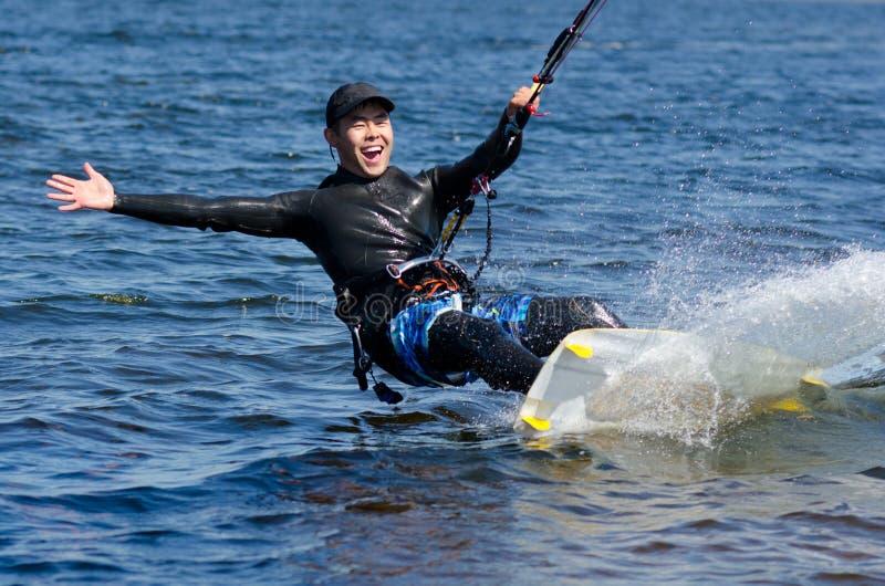 Happy kitesurfer stock photography
