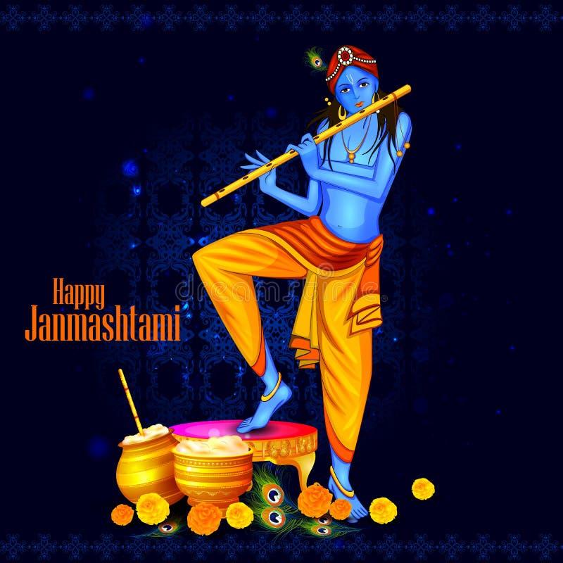 Happy Krishna Janmashtami stock illustration