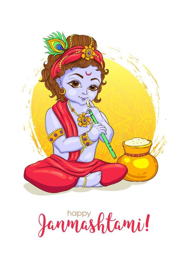 happy krishna janmashtami greeting card stock vector