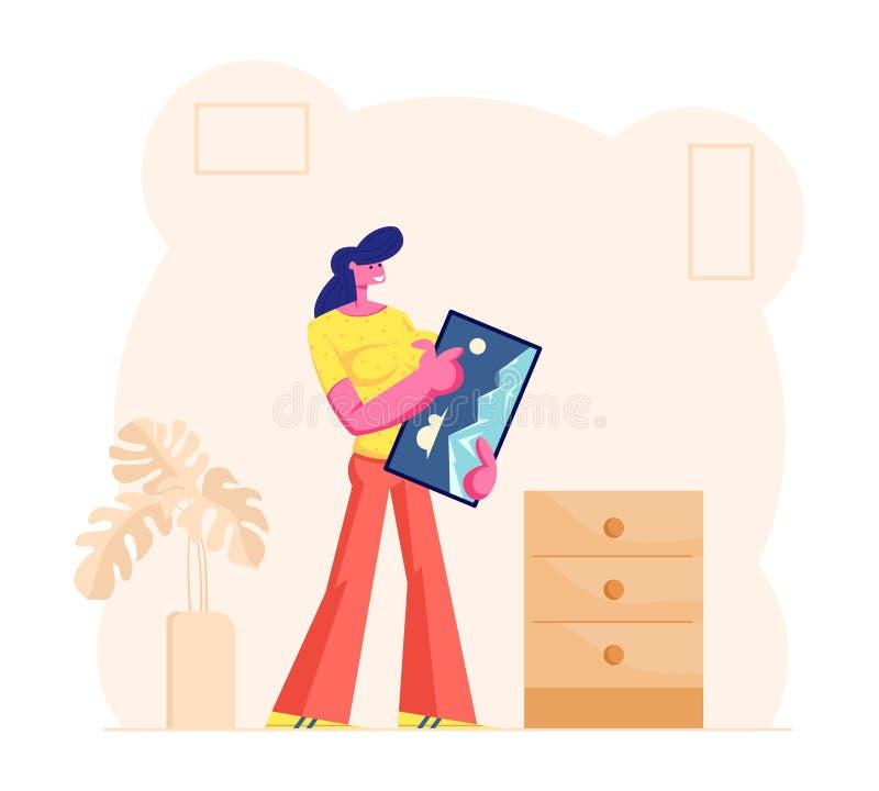 Happy lächelnd Frauen Holding Framed Picture in Hands vorbereitet, es an die Wand zu hängen Haushaltstätigkeiten vektor abbildung