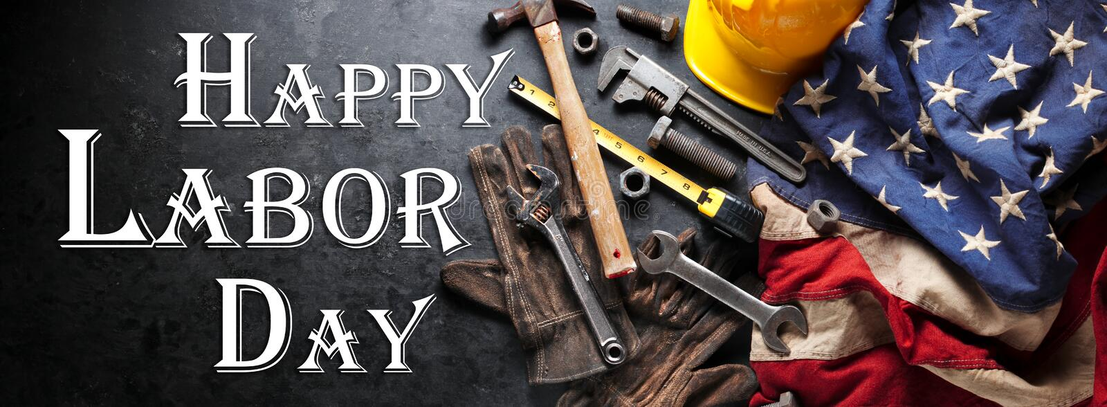 Happy Labor day background with construction and manufacturing tools with patriotic US, USA, American flag background. Happy Labor Day royalty free stock image