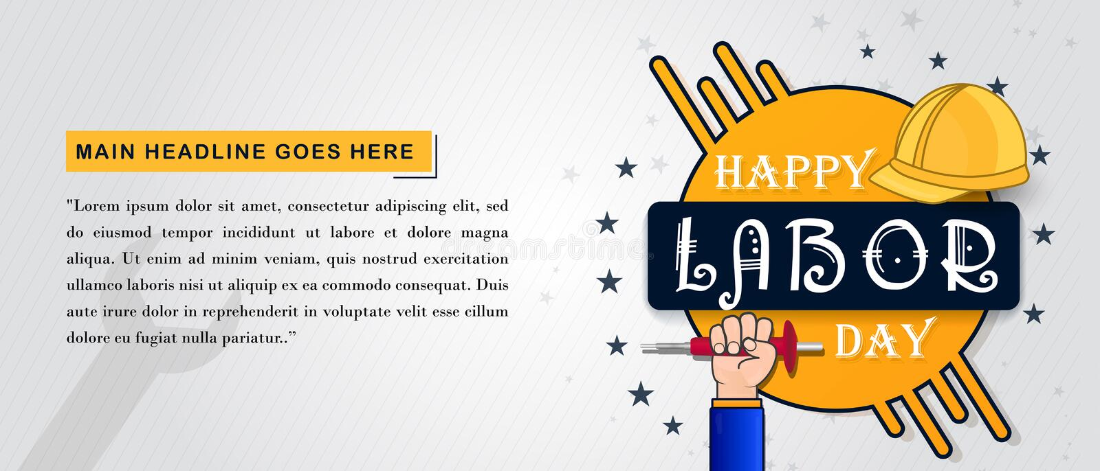 Happy labor day background with labor tools stock illustration