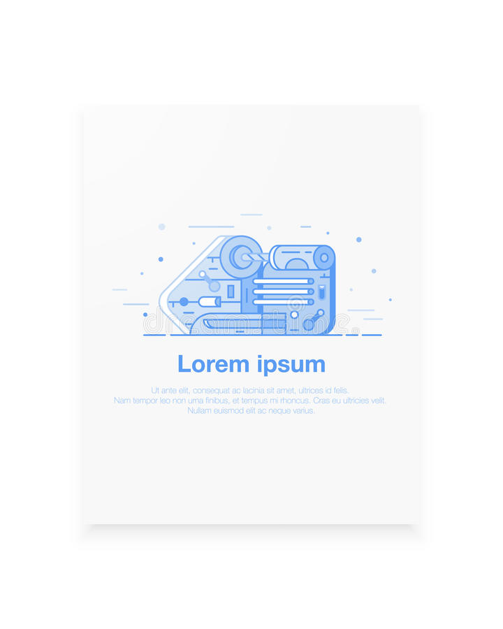 Happy Labor day banner in monochrome trendy flat material design with blue lines and shapes. Lathe illustration in royalty free illustration
