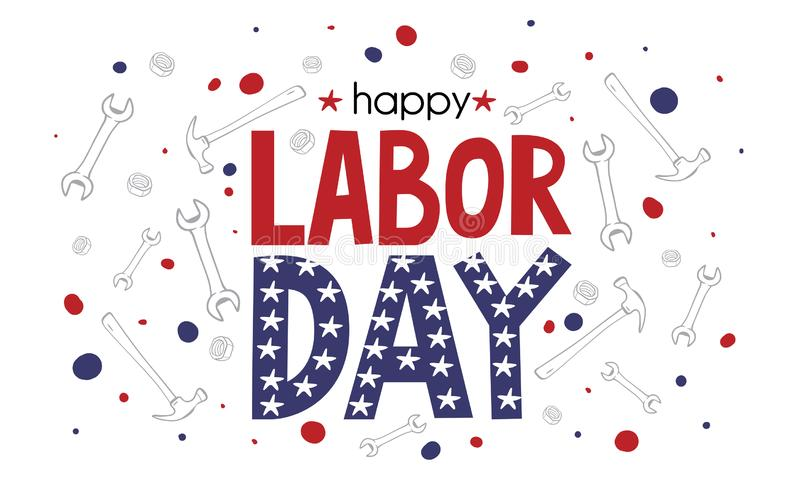 Happy Labor Day banner in United States national flag colors and lettering text. Vector illustration EPS10 stock illustration