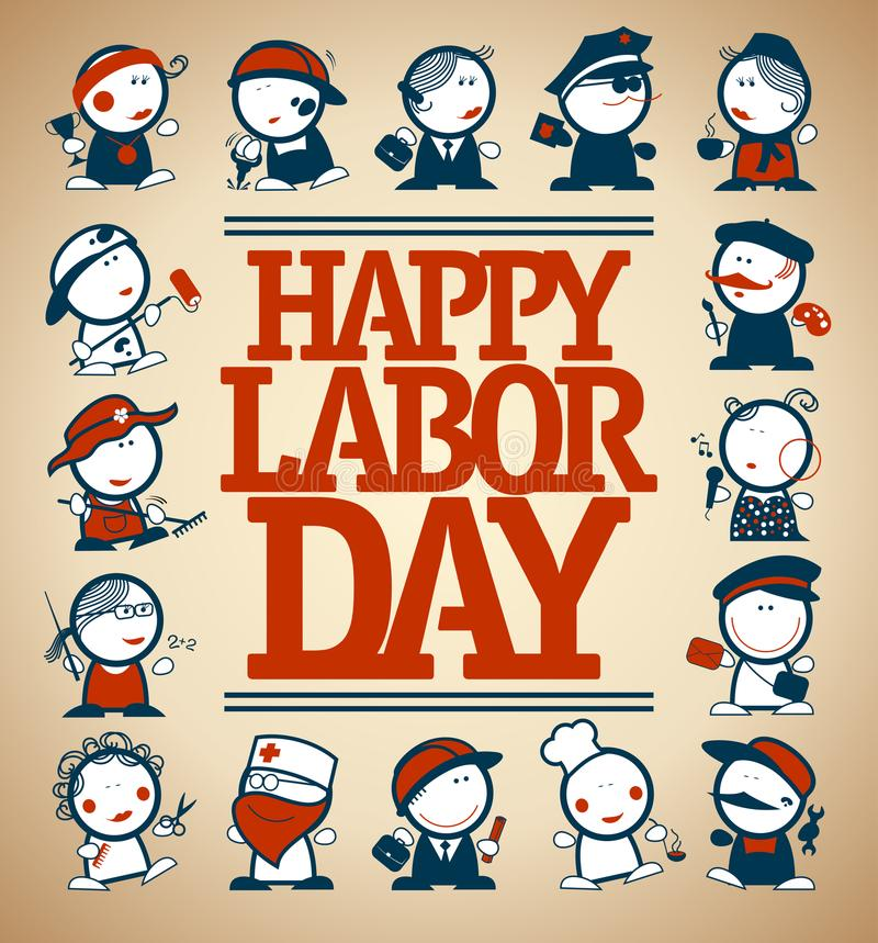 Happy labor day card design, vector illustration royalty free illustration