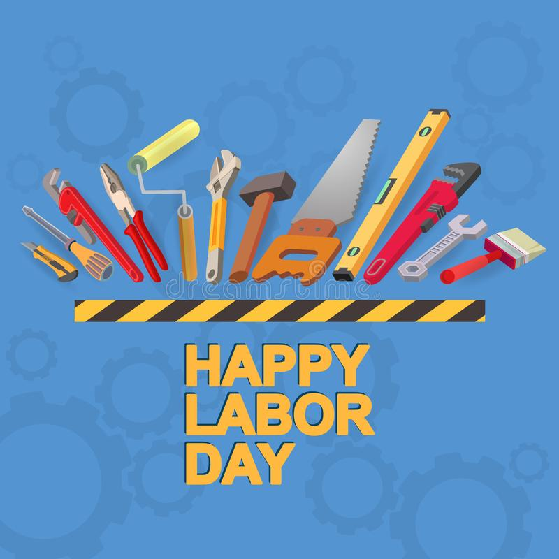 Happy Labor Day card. Isometric tool icon. Vector. stock illustration