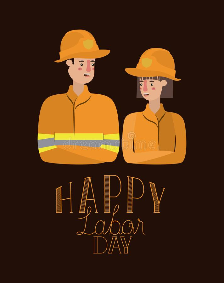 Happy labor day card with workers couple. Vector illustration design stock illustration