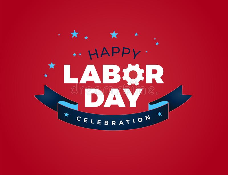 Happy Labor Day celebration text vector illustration - USA Labor Day lettering ribbon design, Labor Day USA royalty free illustration