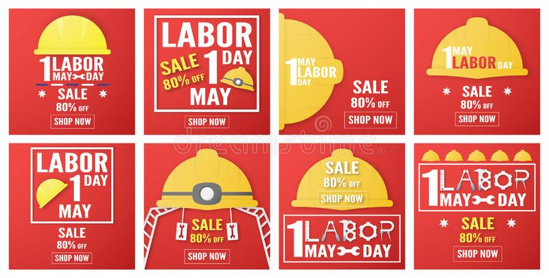 Happy Labor day of every country of the world. Bundle of template design for banner, poster, cover, advertisement, website. Vector stock illustration