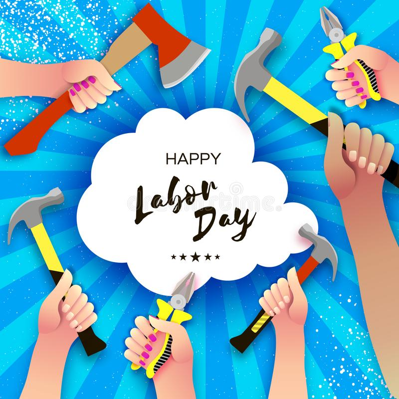 Happy Labor Day greetings card for national, international holiday. Hands workers holding tools in paper cut styl on sky royalty free illustration