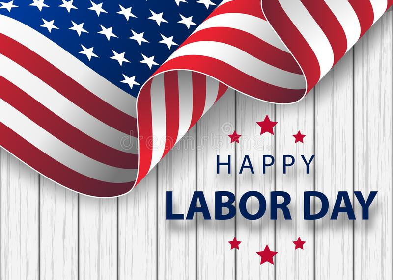 Happy Labor Day holiday banner with brush stroke background in United States national flag stock illustration