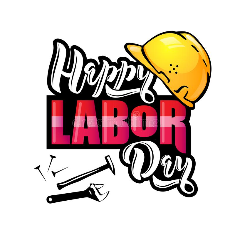 Happy Labor Day lettering. Cartoon design with construction tools and protective helmet. royalty free illustration