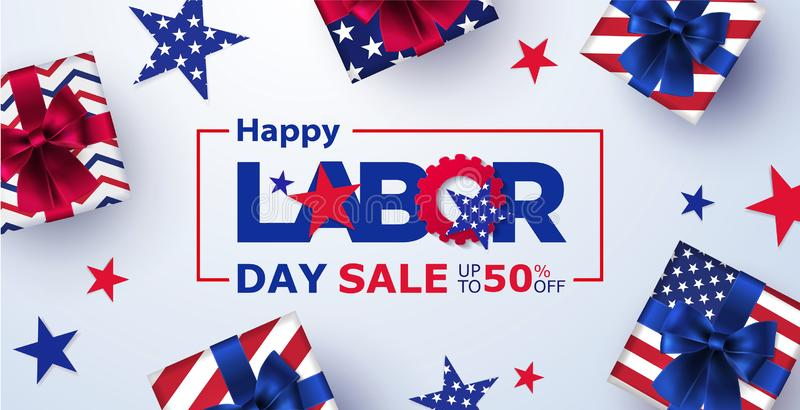 Happy Labor Day Sale banner. Festive design with gift boxes in national colors of american flag and pattern of stars. stock illustration