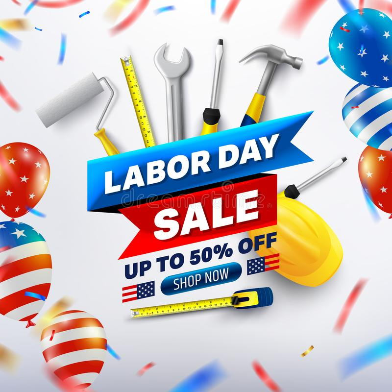 Happy Labor Day Sale 50% off poster.USA labor day celebration with American balloons flag.Sale promotion advertising Brochures, vector illustration