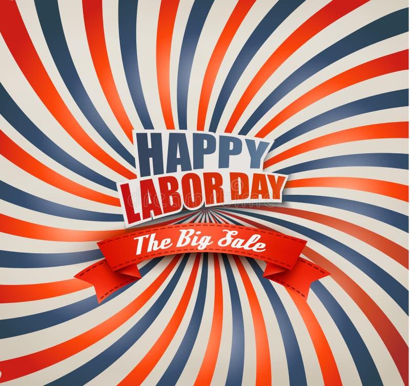 Happy Labor Day Sale Retro Background. vector illustration