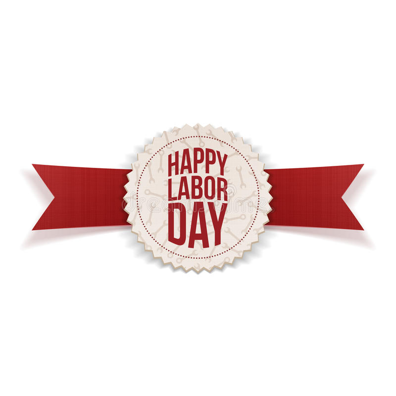 Happy Labor Day Text on realistic Emblem vector illustration