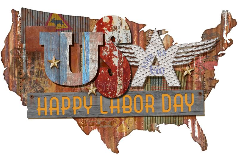 Happy Labor Day Art Folkart Sign. Happy Labor Day USA art folkart sign rustic on metal cutout of America shape with wood stock image