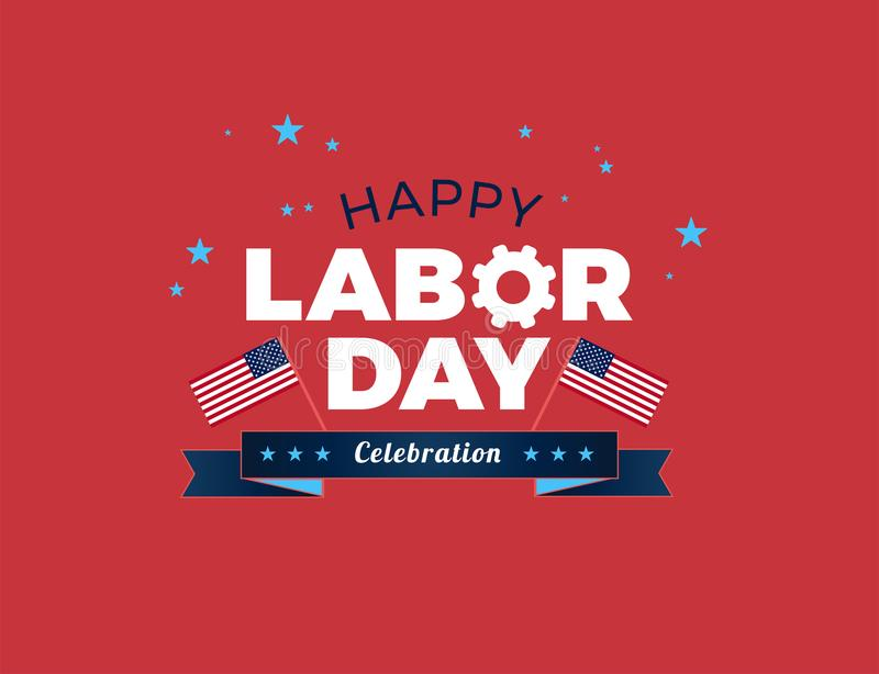 Happy Labor Day USA celebration vector illustration with American flags, and Happy Labor Day text logo royalty free illustration