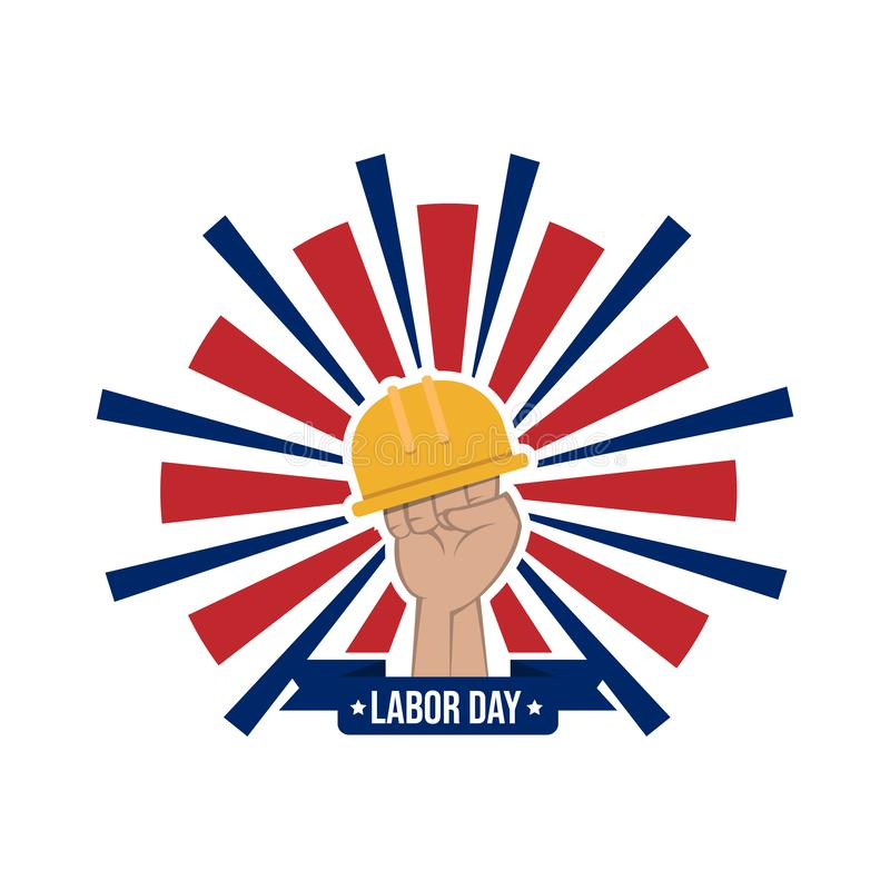 Happy labor day vector label with hand and safety helmet isolated on white background stock illustration