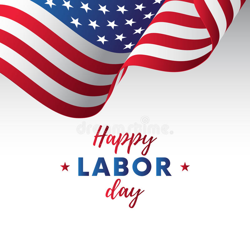 Happy Labor Day. White background. Waving flag. Vector. stock illustration