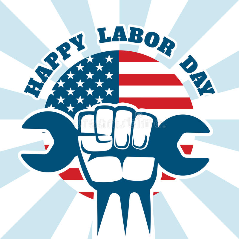 Happy Labor Day and workers right vector poster stock illustration
