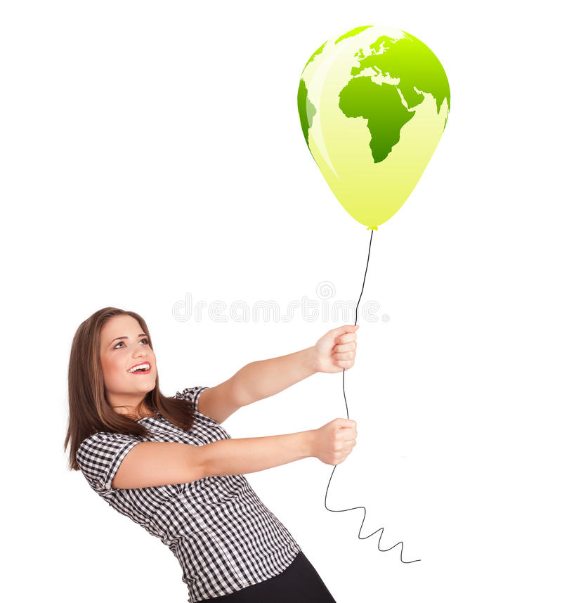 Download Happy Lady Holding A Green Globe Balloon Stock Illustration - Illustration of earth, laughing: 35743650