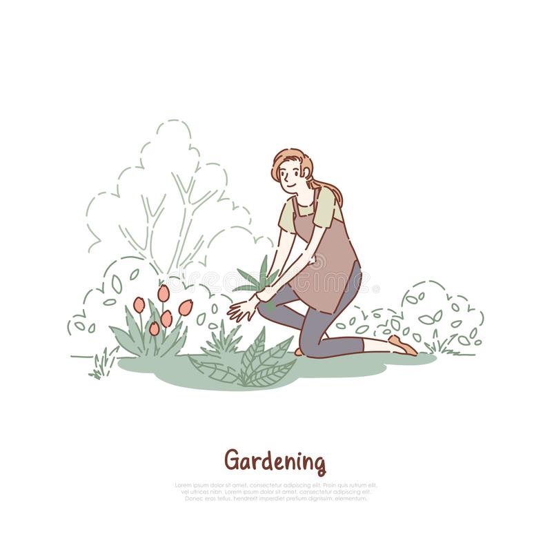 Happy lady working in garden, female gardener in apron, plant care, horticulture chores, agriculture, gardening banner. Young woman planting flowers concept royalty free illustration