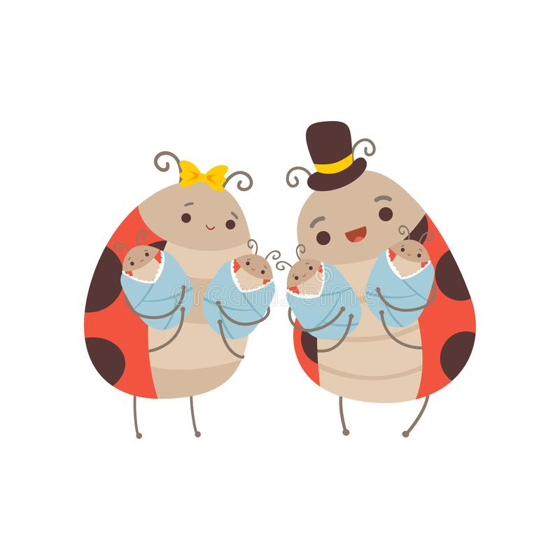 Happy Ladybug Family, Cheerful Mother and Father Ladybugs and Their Four Newborn Babies, Cute Cartoon Insects Characters. Vector Illustration on White royalty free illustration