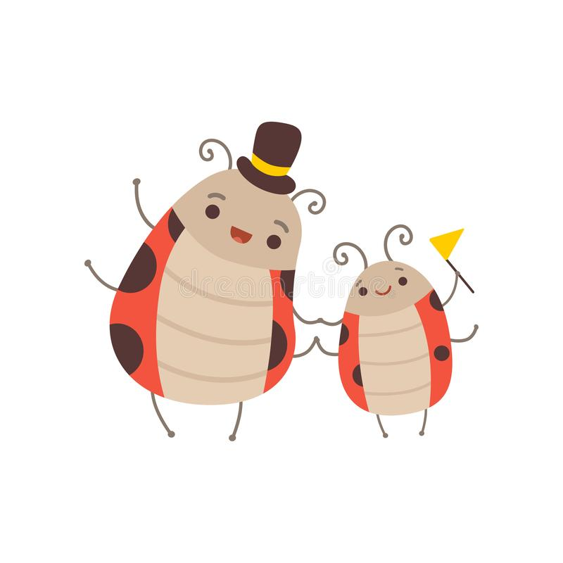 Happy Ladybug Family, Manly Father Ladybug with Top Hat on His Head and His Kid, Cute Cartoon Insects Characters Vector royalty free illustration
