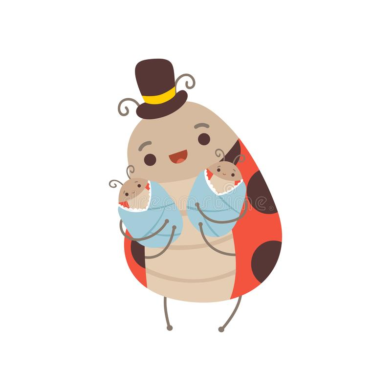 Happy Ladybug Family, Manly Ladybug with Top Hat on His Head Holding His Newborn Babies, Cute Cartoon Insects Characters. Vector Illustration on White stock illustration