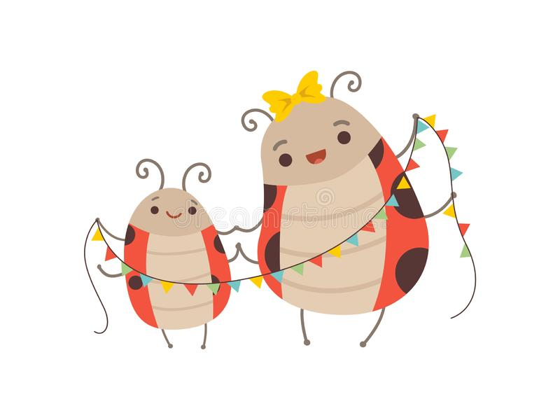 Happy Ladybug Family, Mother Ladybug and Her Child with Party Flags, Adorable Cartoon Flying Insects Characters Vector stock illustration