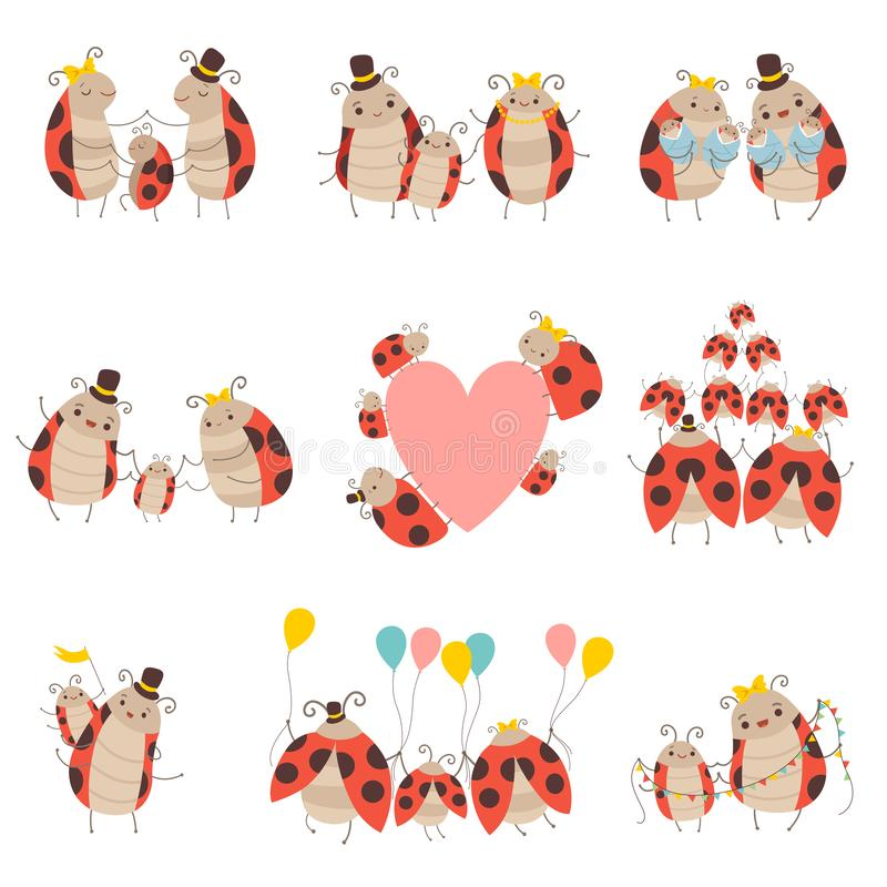 Happy Ladybug Family Set, Cute Mother, Father and Their Babies, Adorable Cartoon Insects Characters Vector Illustration. On White Background royalty free illustration