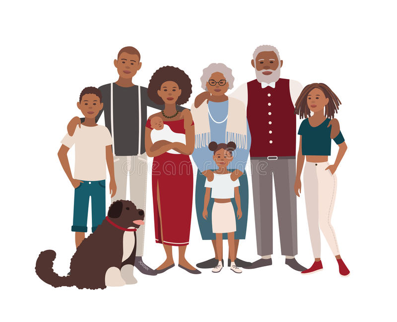 Happy large black family portrait. Father, mother, grandmother, grandfather, sons, daughters and dog together. Vector. Father, mother, grandmother, grandfather stock illustration