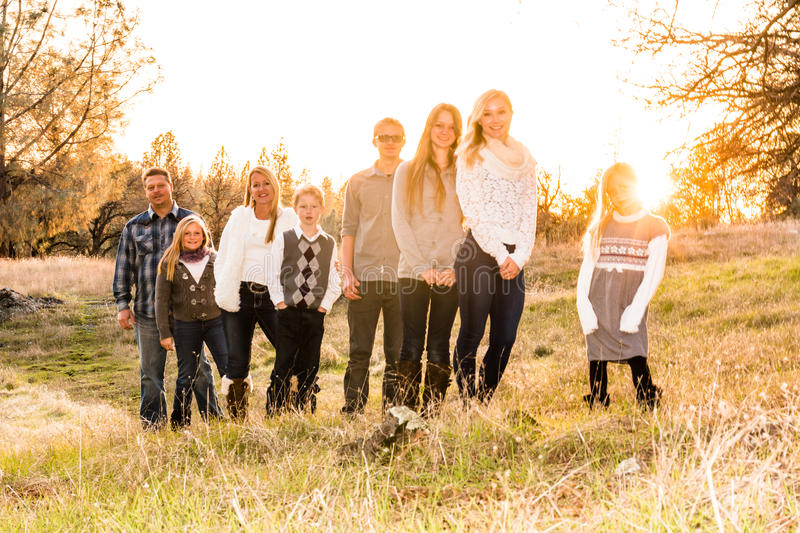Happy Large Family together outdoors royalty free stock photography