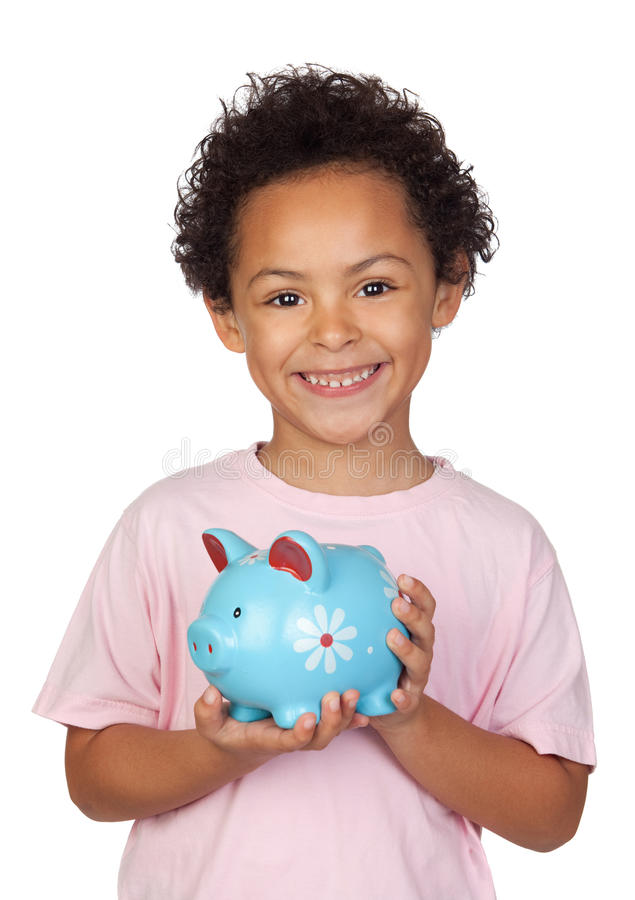 Happy latin child with a blue moneybox royalty free stock photo