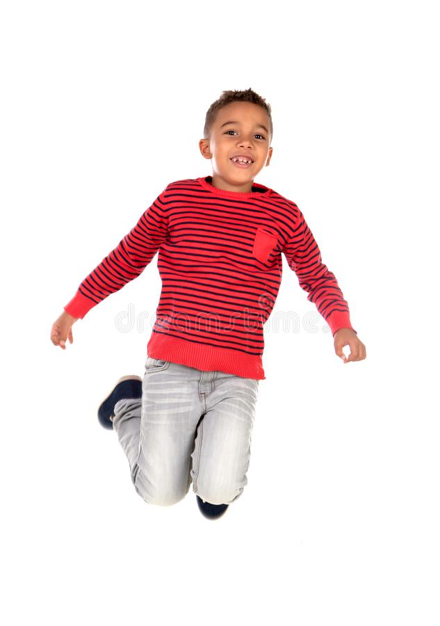Happy latin child jumping isolated stock photos