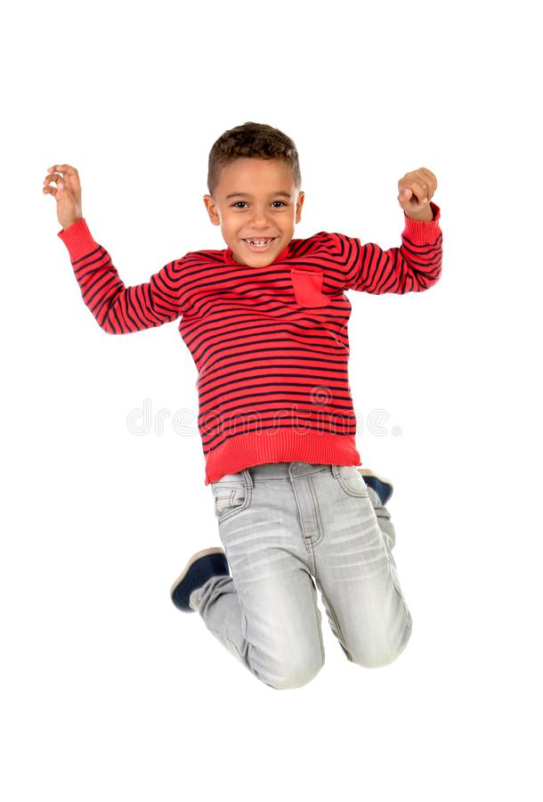 Happy latin child jumping isolated stock images
