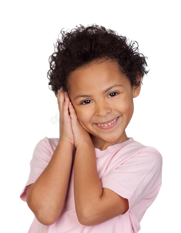 Happy Latin Child Making The Gesture Of Sleep Royalty Free Stock Image