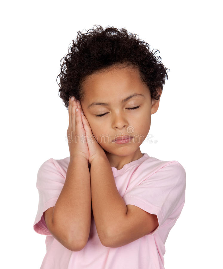 Happy latin child sleeping royalty free stock photos