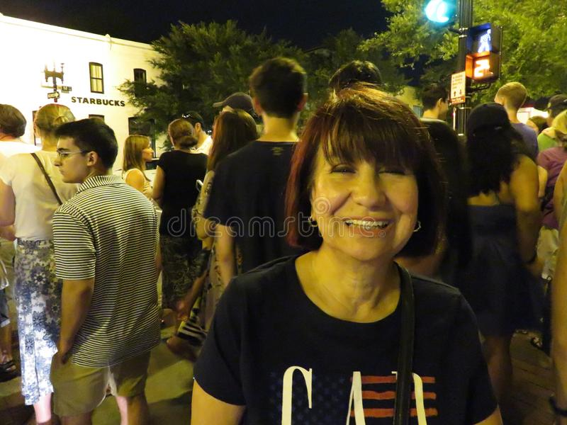 Happy Latina Woman in Georgetown After the Fireworks royalty free stock photography
