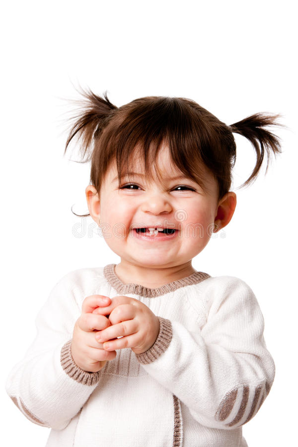 Happy laughing baby toddler girl royalty free stock photo