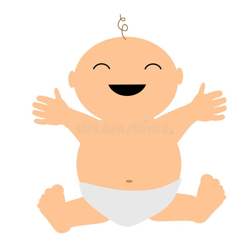 Happy Laughing Clip Art Baby. A simple illustration featuring a happy laughing baby vector illustration