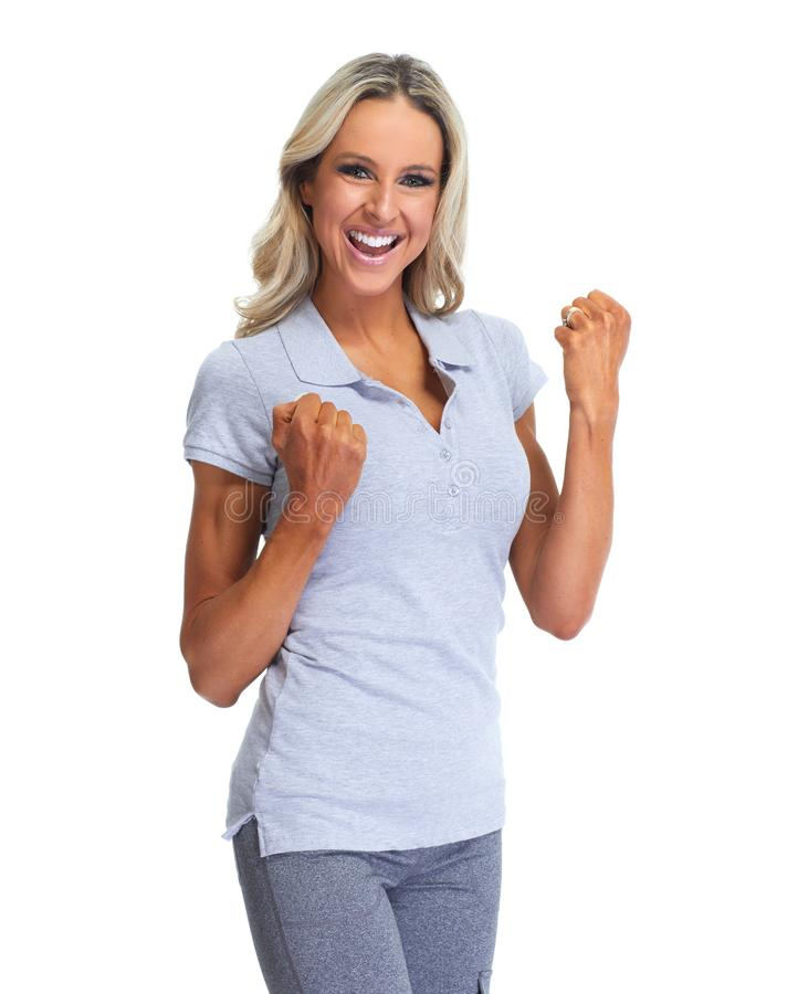 Happy woman portrait. Happy laughing girl portrait isolated white background stock photos