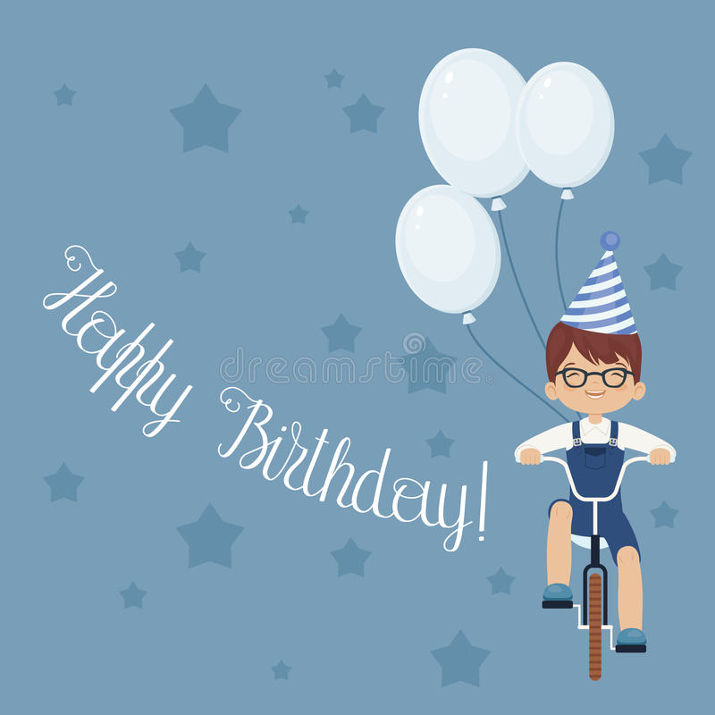 Happy laughing little boy riding a bicycle royalty free illustration
