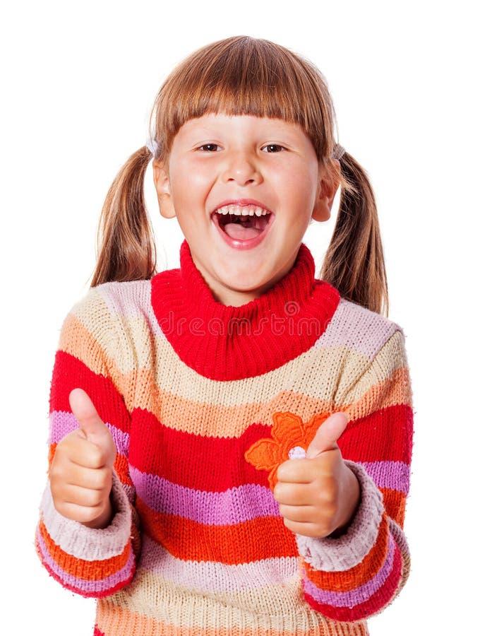 Girl thumbs up stock photo