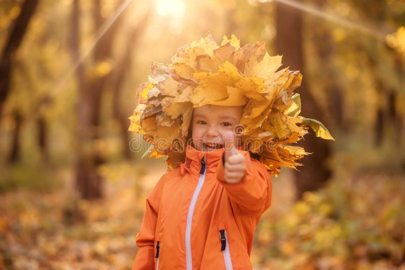 Happy laughing toddler child in crown made of autumn fallen leaves  showing thumb up. Happiness and seasonal activities concept royalty free stock images