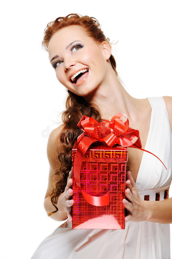 Download Happy Laughing Woman Holding The Red Present Stock Image - Image: 11736001