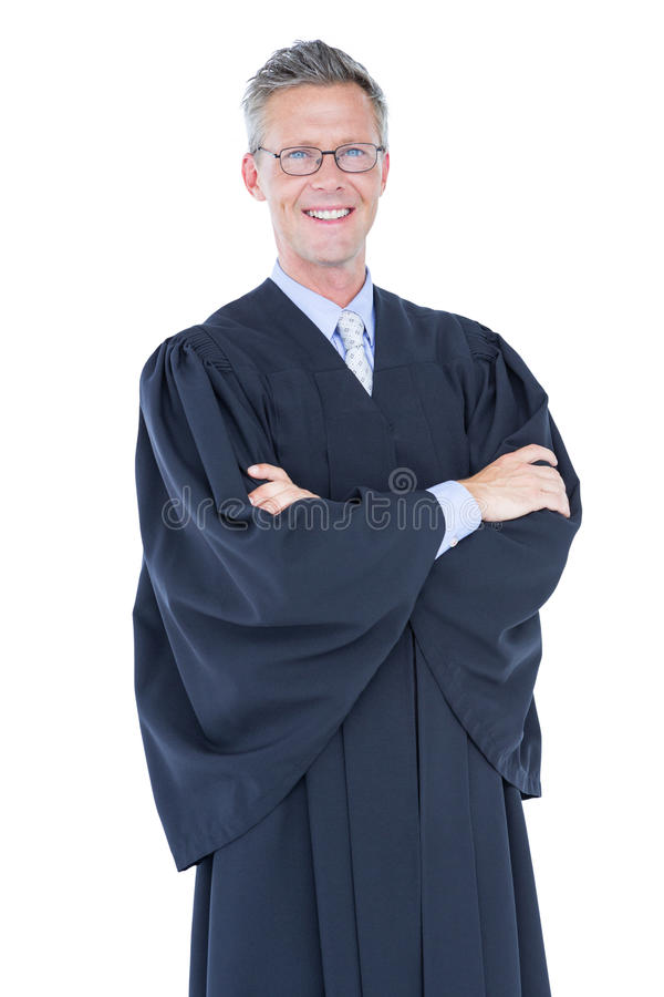 Happy lawyer looking at camera. On white background royalty free stock image