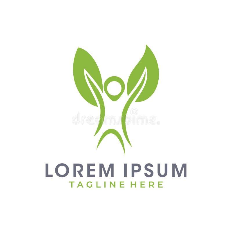 Happy Leaf Eco Man Logo vector illustration